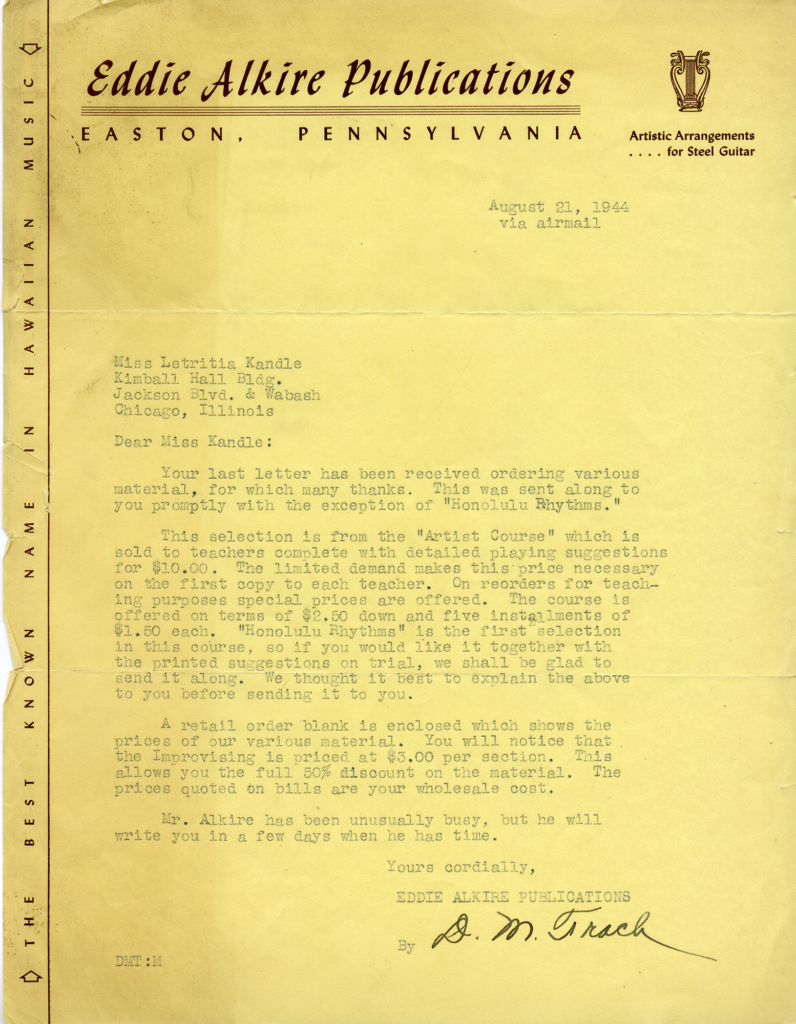A letter from Eddie Alkire Publications to Kandle, about an order of etudes.