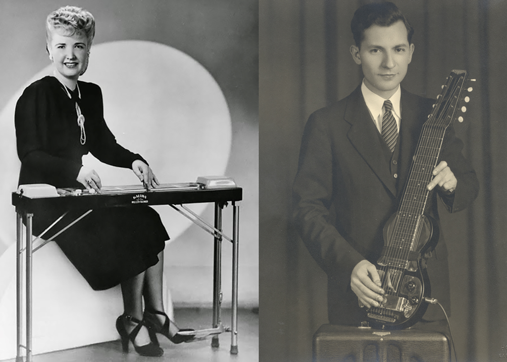 Letritia Kandle, seated at the Small Letar, and Eddie Alkire, holding an EHarp.
