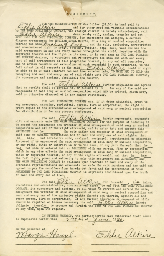 Eddie Alkire's contract with the Oahu Publishing Company.