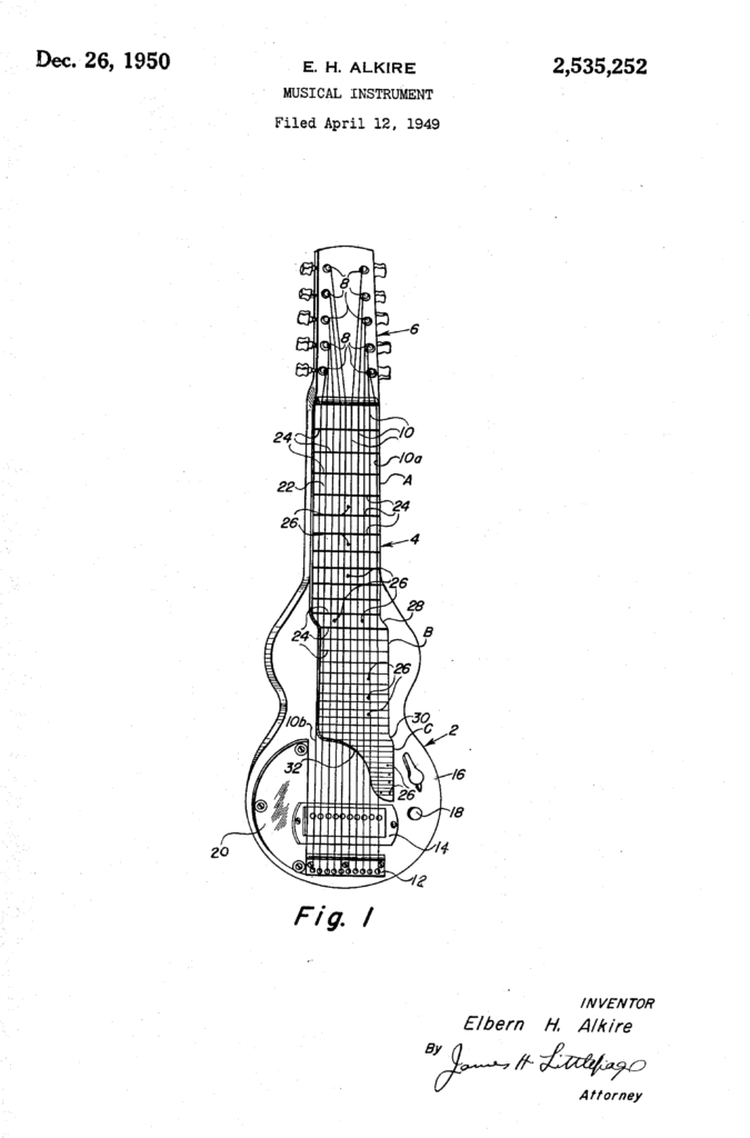 A patent sketch of the EHarp, labeled Fig. 1.